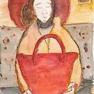 Icon of casual woman with red bag in the underground by Ina Mar