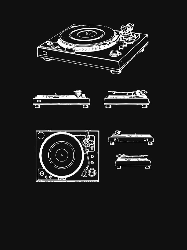 turntable record player patent image (white graphic, no text) by popmod