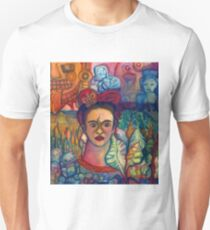 Frida Kahlo and Mexico Homage Original Watercolor by Candace Byington T-Shirt