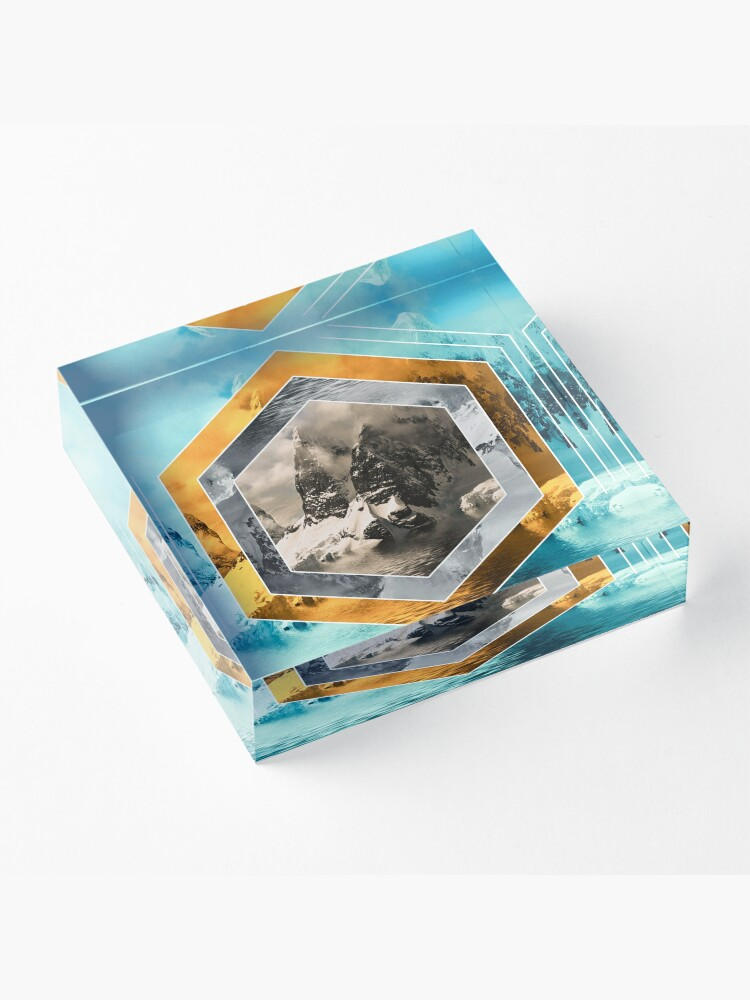 Alternate view of Winter Mountain Polyscape Acrylic Block