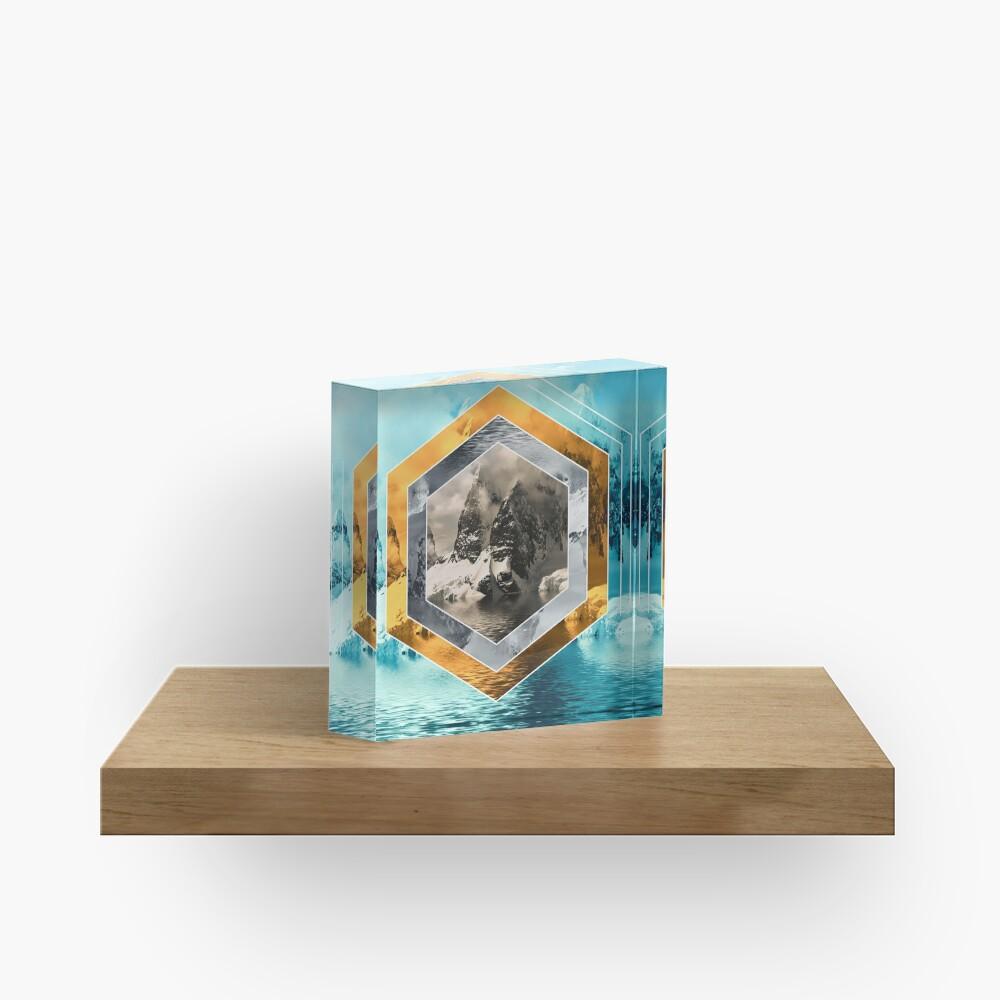 Winter Mountain Polyscape Acrylic Block