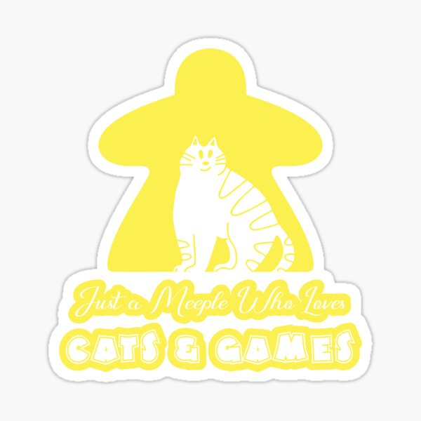 Just A Meeple Who Loves Cats And Games Yellow Sticker