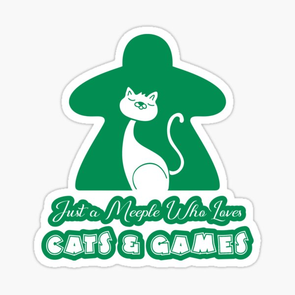 Just A Meeple Who Loves Cats And Games Green Sticker
