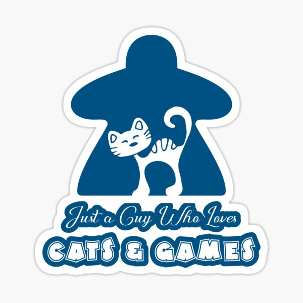 Just A Guy Who Loves Cats And Games Blue Sticker