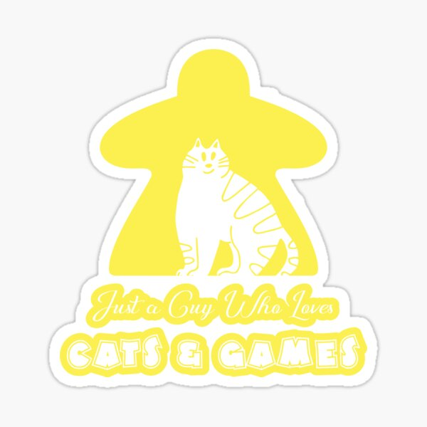 Just A Guy Who Loves Cats And Games Yellow Sticker