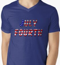 July Fourth Words With USA Flag Texture Mens V-Neck T-Shirt