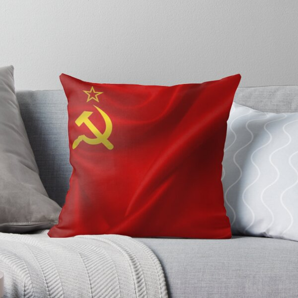 #Flag of the Soviet Union, Soviet Popular #Pictures, #Red Satin #SovietUnion Throw Pillow