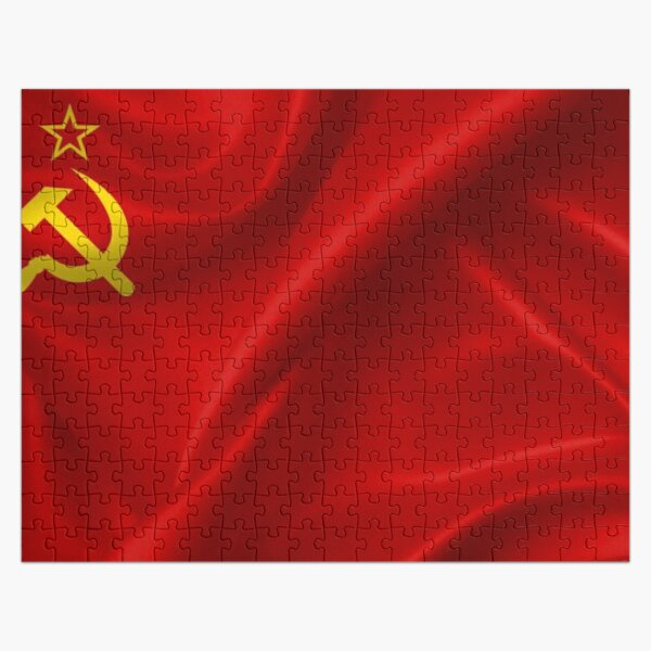 #Flag of the Soviet Union, Soviet Popular #Pictures, #Red Satin #SovietUnion Jigsaw Puzzle