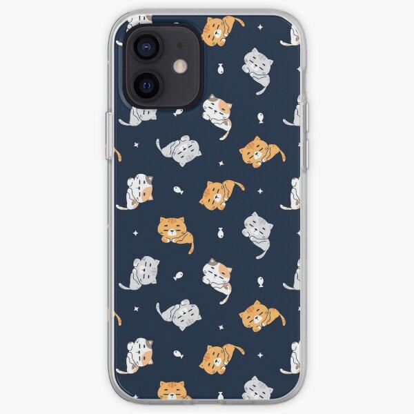Sleepy Cat Pattern iPhone Soft Case