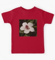 Bright White Hibiscus With a Ruby Red Heart Kids Clothes
