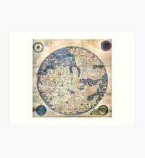 1458 World Map by Fra Mauro Art Print