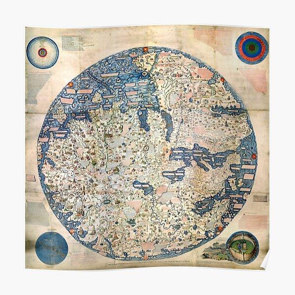 Retro Vintage World Map Traveler Historian History Ancient Art Sign Wall Clock