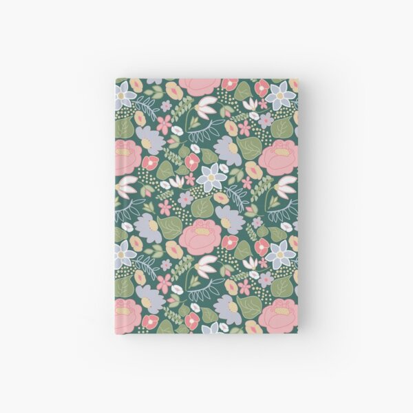 Pastel Folksy Floral small scale  Hardcover Journal
