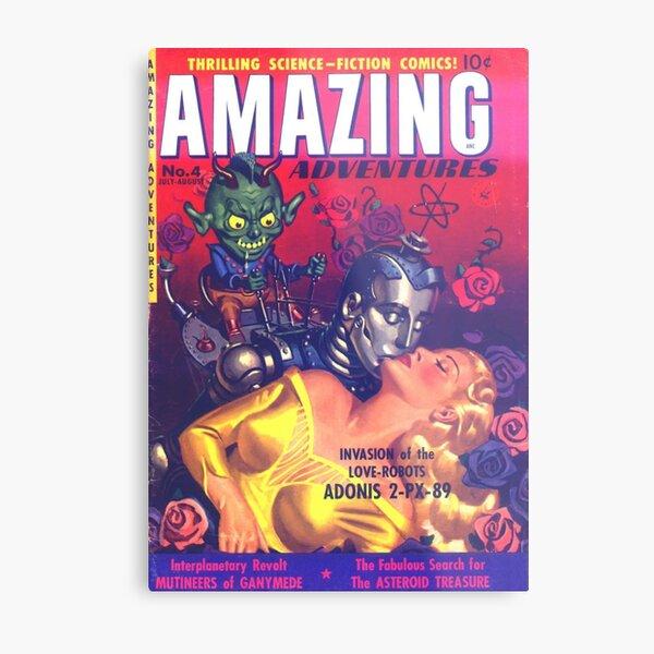LOVE ROBOT INVASION  | Vintage Retro Comic Book Covers 1951 Amazing Adventures Metal Print