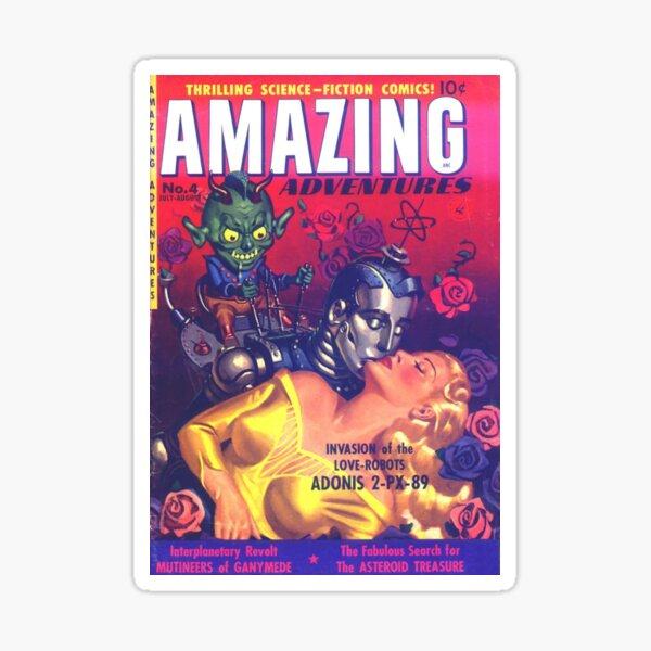 LOVE ROBOT INVASION    Vintage Retro Comic Book Covers 1951 Amazing Adventures Sticker