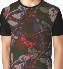 Seamless pattern with colorful autumn leaves and rowanberry glassy effect Graphic T-Shirt