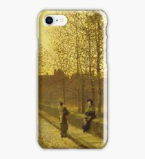 John Atkinson Grimshaw - In The Golden Gloaming. Street landscape: city view, streets, building, houses, prospects, cityscape, architecture, roads, travel landmarks, panorama garden, buildings iPhone Case/Skin
