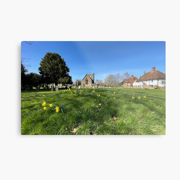 St Peter and St Paul Church with Daffodils Metal Print