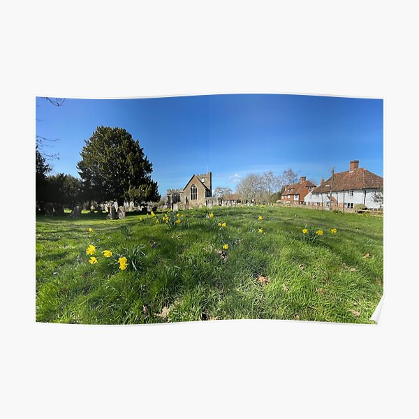 St Peter and St Paul Church with Daffodils Poster