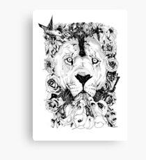 Floral Lion - Fineliner Illustration Canvas Print