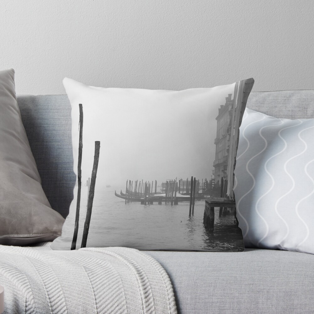 A Foggy Day in Venice Throw Pillow