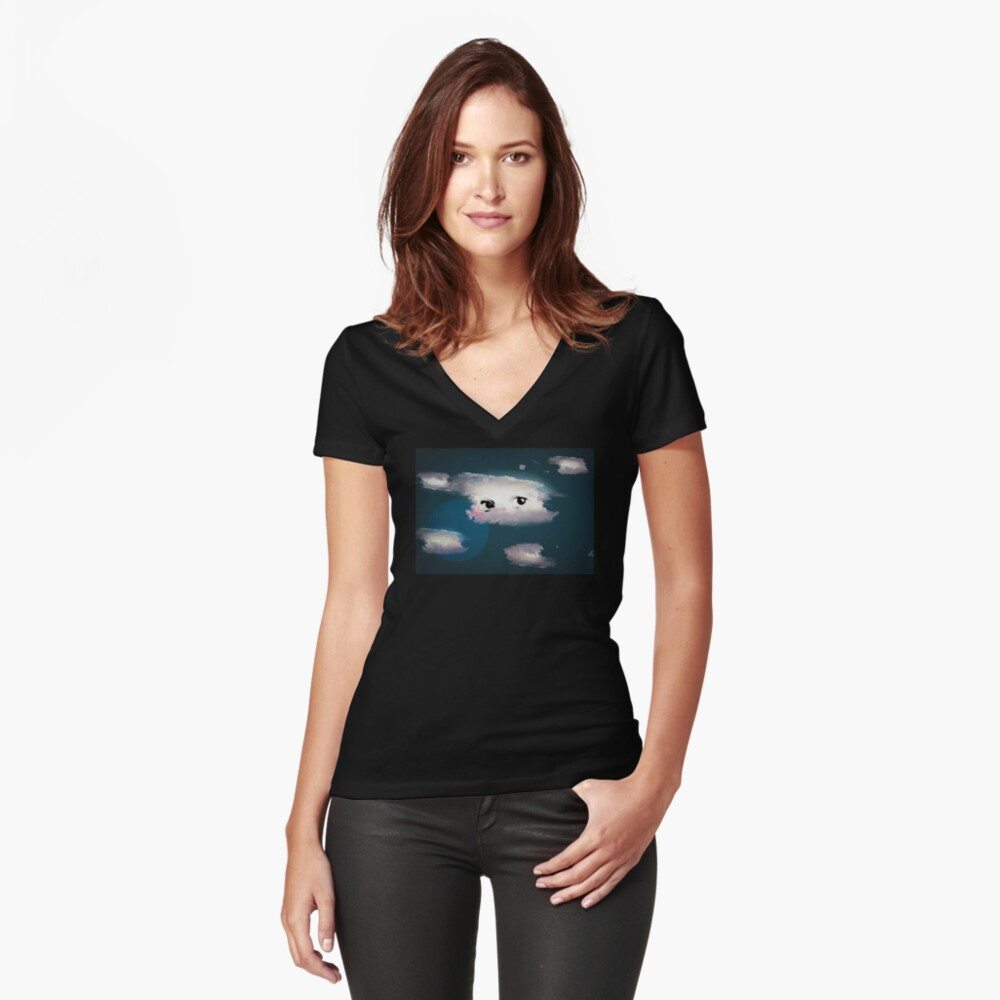 Parcequealors Women's Fitted V-Neck T-Shirt Front