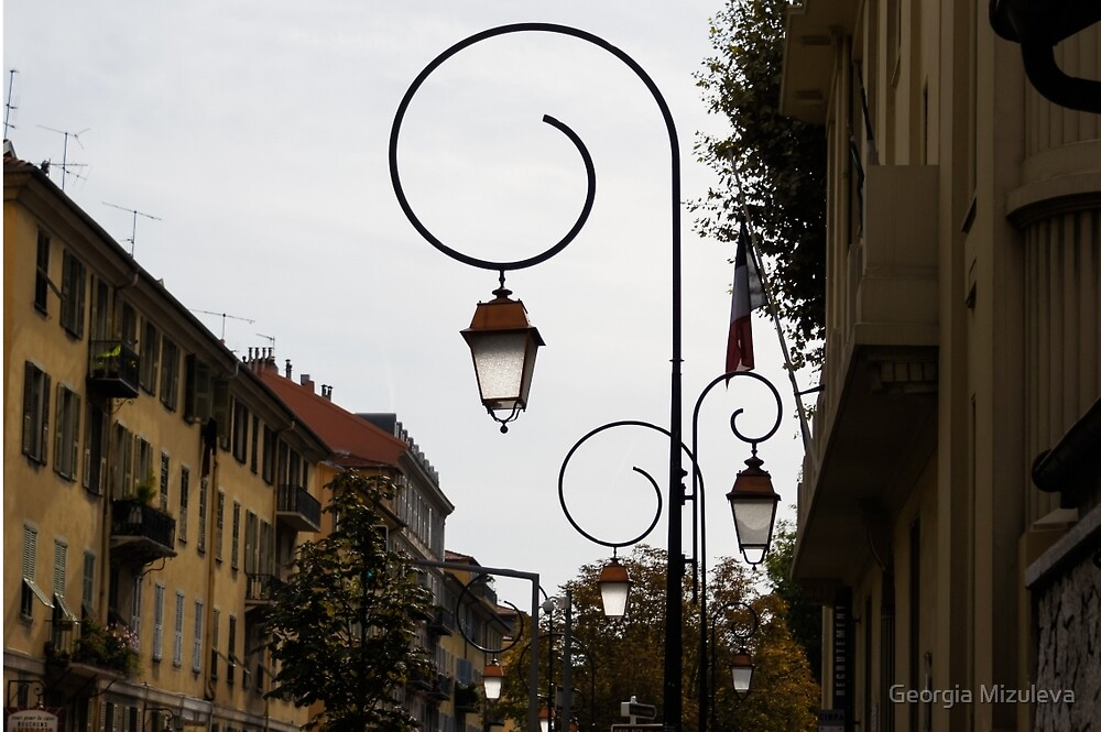 Charming Streetlamps in Old Town Nice, France, French Riviera by Georgia Mizuleva