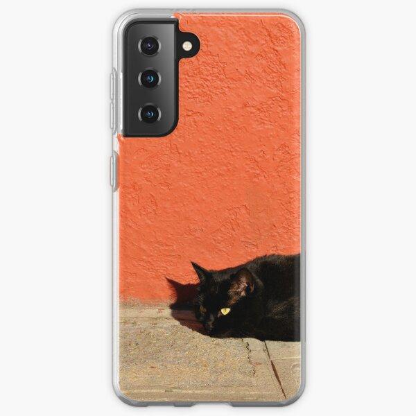 Black Cat Red Wall Samsung Galaxy Soft Case