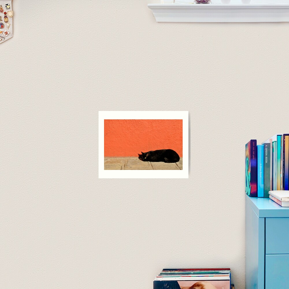 Black Cat Red Wall Art Print