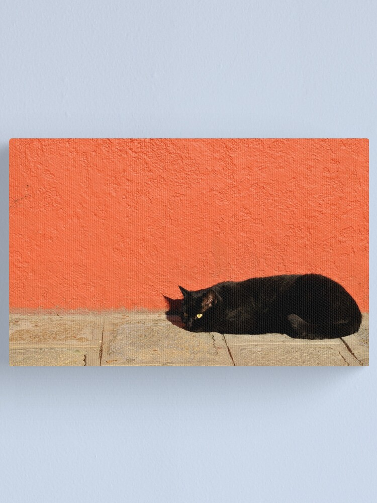 Alternate view of Black Cat Red Wall Canvas Print