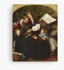 John Everett Millais - Peace Concluded. Family portrait: father and son, mother and daughter, female and male, dad daddy, child baby, beautiful dress, lovely family, mothers day, memory, mom, friends Canvas Print