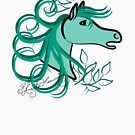 Horse profile Teal Blue by AngelArtiste