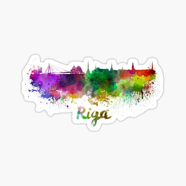 Riga skyline in watercolor Sticker