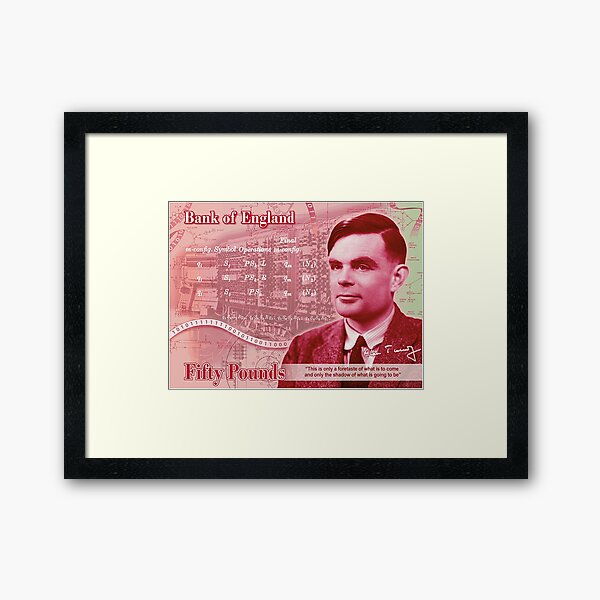 Alan Turing 50 Pond Concept Note Framed Art Print