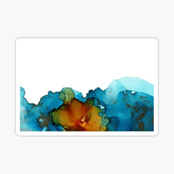 Alcohol Ink Blue Orange Green No. 2 Sticker