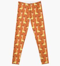 Orange Giraffte Pattern Leggings