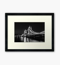 Tower Bridge Night Mono Framed Print