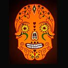 Orange Skull throw pillow and Tote Bag by Shulie1