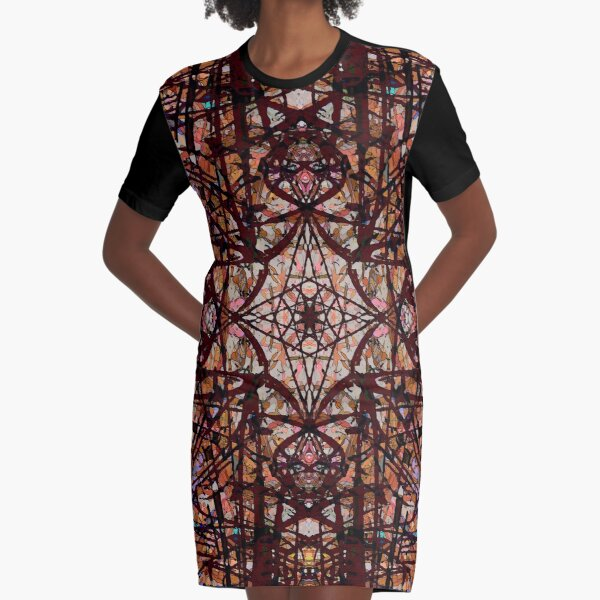 Tangled Red Water Graphic T-Shirt Dress