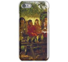 John George Brown - The Cider Mill. Female child portrait: cute girl, girly, female, pretty angel, child, beautiful dress, face with hairs, smile, little, kids, baby iPhone Case/Skin