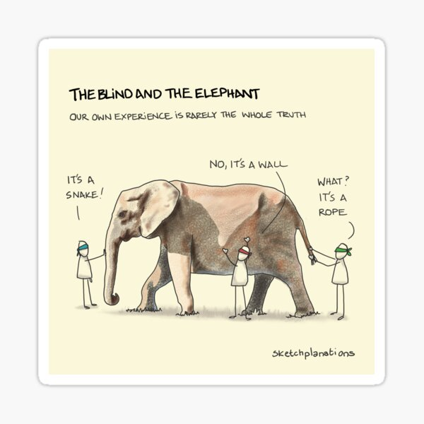 The blind and the elephant Sticker