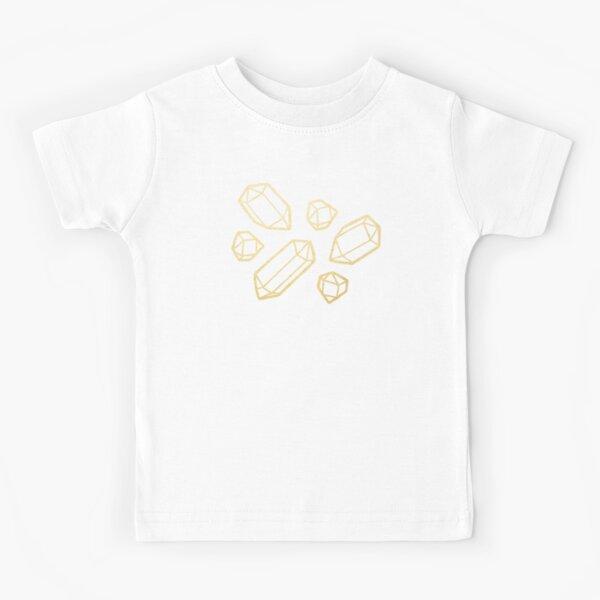 Gold and White Gemstone Pattern Kids T-Shirt