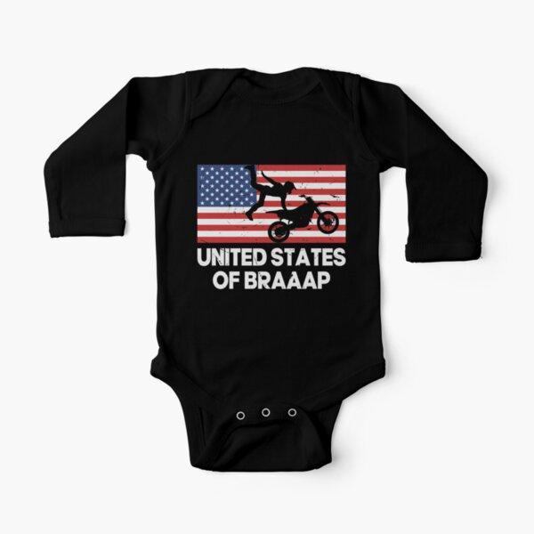 Estados Unidos de Braaap Usa bandera Dirtbike Cycle Body de manga larga para bebé