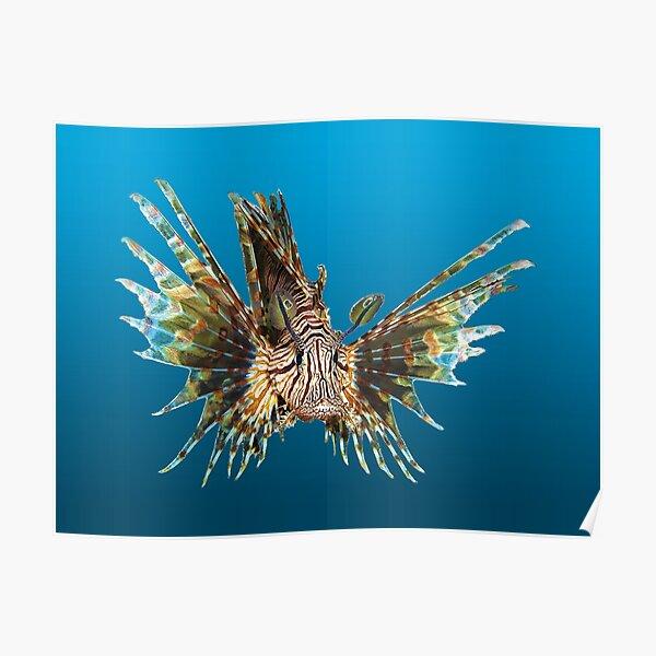 Feuerfisch | Schwebender Fisch auf blauem Hintergrund |  Poster