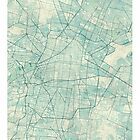 Mexico City Map Blue Vintage by HubertRoguski