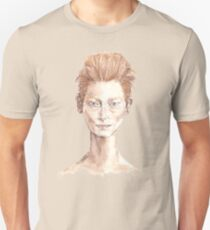 Tilda Red Head Face Portrait Drawing Unisex T-Shirt