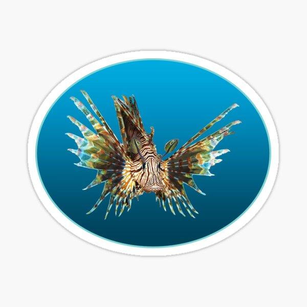 Feuerfisch   Schwebender Fisch auf blauem Hintergrund    Sticker