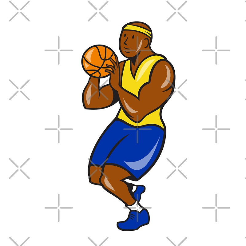 Quot African American Basketball Player Shoot Ball Cartoon