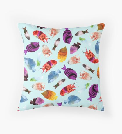 Fish shaped Flowers Throw Pillow