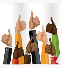 Flat design multicultural group thumbs up Poster